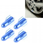 Universal 8mm Rocket Style Aluminum Alloy Car Tire Valve Caps, Pack of 4(Blue)