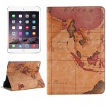 Map Pattern Horizontal Flip Smart Leather Case with Holder & Card Slots & Wallet for iPad Mini 4, Random Delivery(Brown)