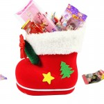 Santa Pattern Christmas Decoration Flocking Stocking Boot Candy Bag, Size: 9cm x 10cm x 6cm