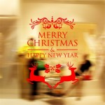Home Decor Merry Christmas Happy New Year Removable Wall Stickers, Size: 58cm x 58cm(Red)