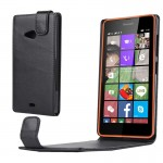 Nappa Texture Vertical Flip Magnetic Snap Leather Case for Microsoft Lumia 540(Black)