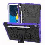 Tire Texture TPU+PC Shockproof Case for iPad Pro 11 inch (2018), with Holder & Pen Slot (Purple)