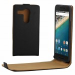 Khaki Lining Vertical Flip Magnetic Buckle PU Leather Case for Google Nexus 5X(Black)