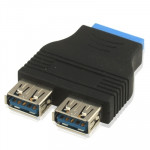 2 x USB 3.0 AF to 20 Pin Adapter