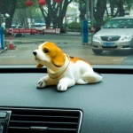 Universal Car Truck Lucky Beagle Dog Doll Shake Head Ornament Vehicle Decor Toy Piggy Bank, with Double Sided Tape