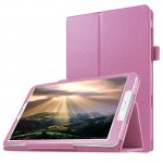 Litchi Texture Horizontal Flip Solid Color Leather Case with Holder for Samsung Galaxy Tab E 8.0 / T377V(Pink)