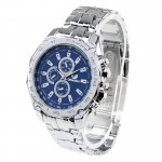 Round Dial 3 Decoration Dials Men Quartz Watch with Metal Band(Blue)
