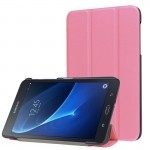 Custer Texture Horizontal Flip Solid Color Leather Case with Three-folding Holder for Samsung Galaxy Tab A 7.0 2016 / T280N(Pink