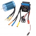 3650 4370KV 4P Sensorless Brushless Motor with 45A Brushless Electric Speed Controller for 1/10 RC Car Truck