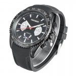 CAGARNY 6827 Fashionable Majestic Student Quartz Sport Wrist Watch with Silicone Band for Men(Black Case Black Window)