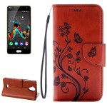 Wiko U Feel Lite Pressed Flowers Horizontal Flip Leather Case with Magnetic Buckle & Holder & Card Slots & Wallet(Brown)