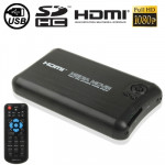 1080P Full HD Aluminum Shell Media Player with Remote Control & HDMI Interface, Support SD Card / USB Flash Disk / External SATA