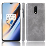 Litchi Texture PC + PU Shockproof Case for OnePlus 7(Gray)