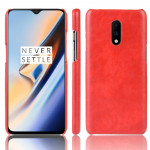 Litchi Texture PC + PU Shockproof Case for OnePlus 7(Red)