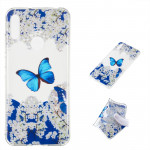 Blue Butterfly Pattern Highly Transparent TPU Protective Case for Huawei Y6 Pro (2019)