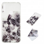 Black Flower Skull Pattern Highly Transparent TPU Protective Case for Huawei Y6 Pro (2019)