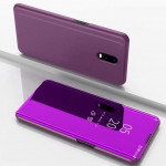 Electroplating Mirror Horizontal Flip Leather Case for OnePlus 7 Pro, with Holder(Purple)