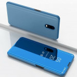 Electroplating Mirror Horizontal Flip Leather Case for OnePlus 7 Pro, with Holder(Sky blue)