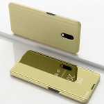 Electroplating Mirror Horizontal Flip Leather Case for OnePlus 7 Pro, with Holder(Gold)