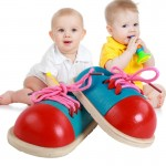 1 Pair Educational Kids Toys Wooden Shoelace Tying Practice Toy