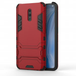 Shockproof PC + TPU Case for OPPO Reno , with Holder(Red)