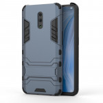 Shockproof PC + TPU Case for OPPO Reno , with Holder(Navy Blue)