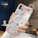 Flowers Pattern Wrist Strap Soft TPU Protective Case For Galaxy S9 Plus(Flowers wrist strap model C)