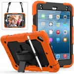 Shockproof Colorful Silica Gel + PC Protective Case for iPad Mini 2019 / Mini 4, with Holder & Shoulder Strap & Hand Strap & Pen