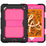 Shockproof Transparent PC + Silica Gel Protective Case for iPad Mini 2019 / Mini 4, with Holder & Shoulder Strap (Rose Red)