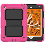 Shockproof PC + Silica Gel Protective Case for iPad Mini 2019 / Mini 4, with Holder & Shoulder Strap (Rose Red)