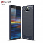 Brushed Texture Carbon Fiber TPU Case for Sony Xperia 20(Navy Blue)