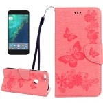 For Google Pixel Butterflies Embossing Horizontal Flip Leather Case with Holder & Card Slots & Wallet & Lanyard(Pink)