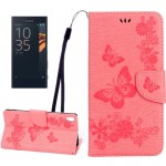 For Sony Xperia XA Ultra Butterflies Embossing Horizontal Flip Leather Case with Holder & Card Slots & Wallet & Lanyard(Pink)