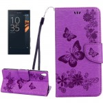 For Sony Xperia XA Ultra Butterflies Embossing Horizontal Flip Leather Case with Holder & Card Slots & Wallet & Lanyard(Purple)