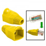 100 pcs Network Cable Boots Cap Cover for RJ45, Yellow