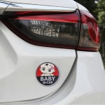 Baby in Car Lovely Smile Face Adoreable Car Free Sticker(Red)
