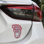 Baby in Car Happy Feet Shape Adoreable Style Car Free Sticker(Red)