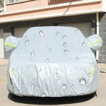 PEVA Anti-Dust Waterproof Sunproof Sedan Car Cover with Warning Strips, Fits Cars up to 4.1m(160 Inches) In Length