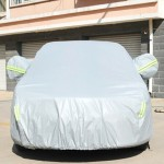 PVC Anti-Dust Sunproof Sedan Car Cover with Warning Strips, Fits Cars up to 4.5m(176 Inches) In Length