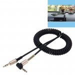 3.5mm 4-pole Male to Male Plug Audio AUX Retractable Coiled Cable, Length: 1.5m (Black)