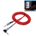 3.5mm 4-pole Male to Male Plug Audio AUX Retractable Coiled Cable, Length: 1.5m (Red)