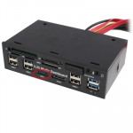 Lecteur de carte interne 5,25 pouces PC Media Dashboard Card Reader 2 x USB 3.0 + 6 2.0 SATA - wewoo.fr
