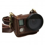 For GoPro HERO4 Litchi Texture Genuine Leather Protective Case with Sling(Brown)