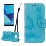 For Samsung Galaxy S8 Butterflies Embossing Horizontal Flip Leather Case with Holder & Card Slots & Wallet & Lanyard(Blue)