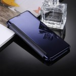 For Samsung Galaxy S8 / G9500 Electroplating Mirror Horizontal Flip Leather Case with Sleep / Wake-up Function(Dark Blue)