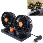HUXIN HX-T304 10W 360 Degree Adjustable Rotation Two Head Low Noise Mini Electric Car Fan, DC 24V