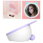 5W Multi-function Touch Switch Rechargeable Creative Lovely Pet Shape Makeup Mirror LED Desk Lamp Night Light(Purple)