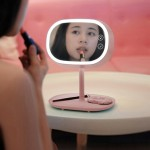 OneFire 1.32W 150 LM Multi-function Touch Switch Rechargeable Makeup Mirror LED Desk Lamp Night Light, DC 5V(Pale Pinkish Grey)