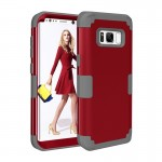 For Samsung Galaxy S8 Dropproof 3 in 1 Silicone sleeve for mobile phone (Red)