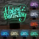 Happy Birthday Style USB Charging 7 Colour Discoloration Creative Visual Stereo Lamp 3D Touch Switch Control LED Light Desk Lamp